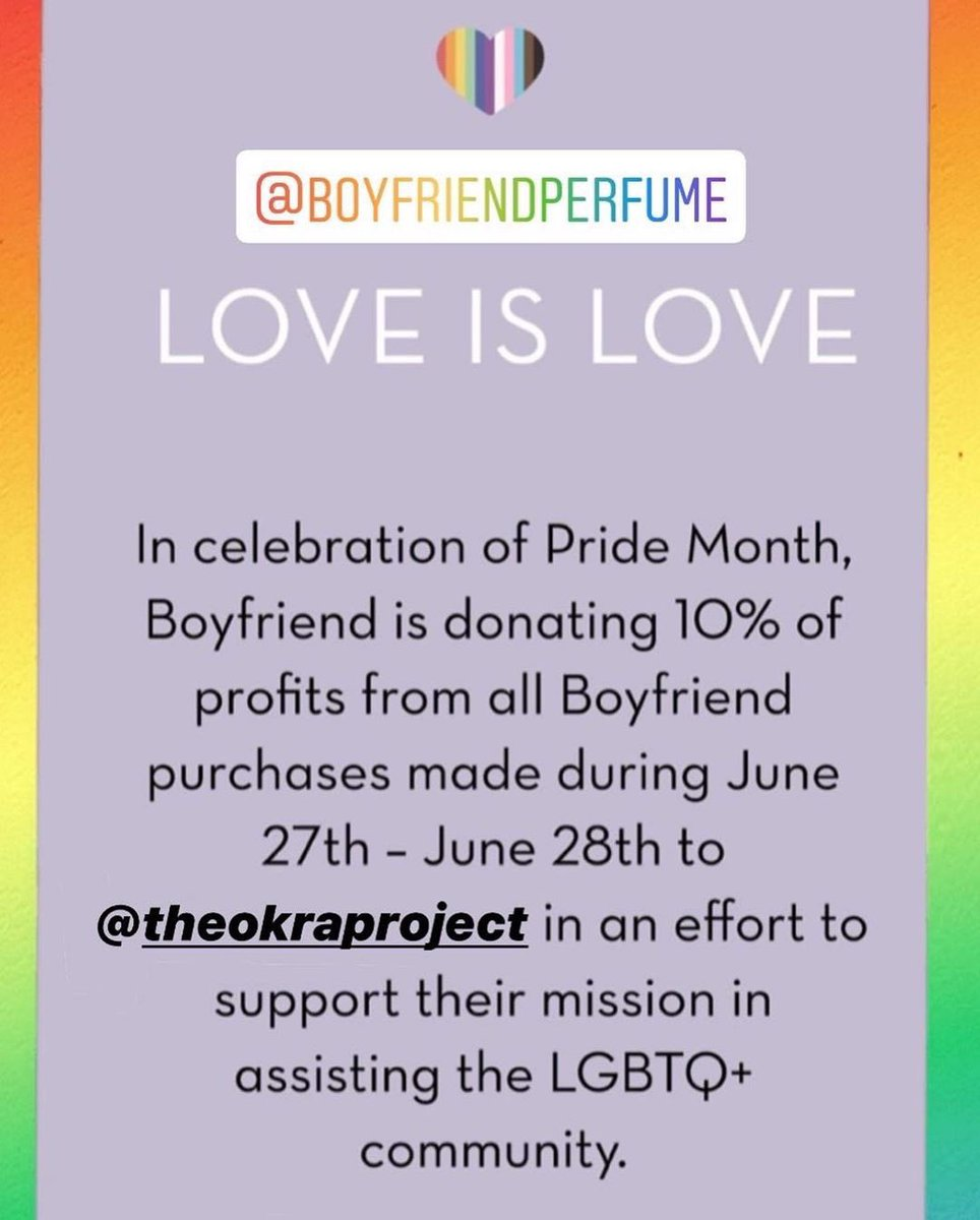 I'm so excited that Boyfriend will be donating 10% of profits from all purchases made from our pride sale to @TheOkraProject in an effort to support their mission in assisting the LGBTQ+ community ❤️ https://t.co/gWynIpGE3p