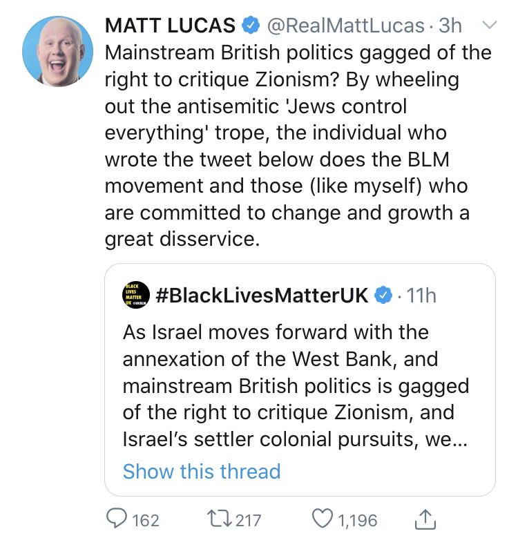 Whether or not you think the BLM tweet helpful, Matt (with an enormous platform, having recently been called out for blackface..) presumes the tweet means something it didn't say to make it seem beyond the pale.