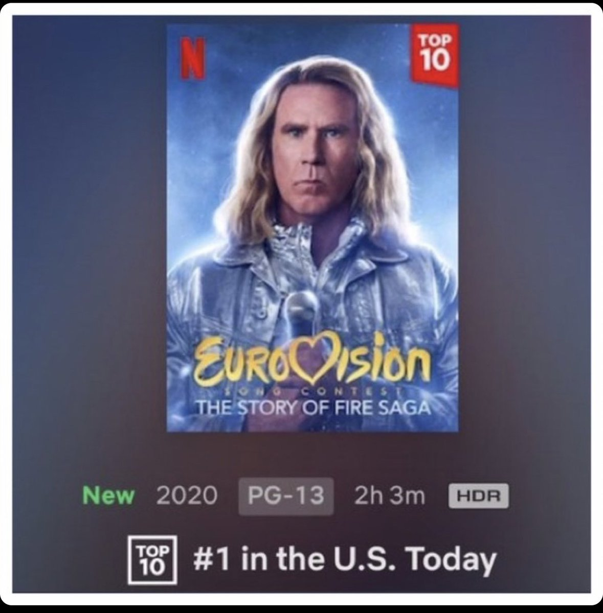 Thank you all!! Eurovision is the film most seen in the UK and USA. #eurovisionnetflix https://t.co/9N8HE3gWnG