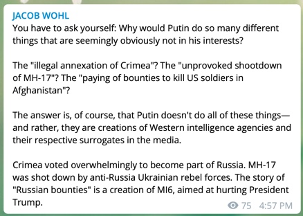 Jacob Wohl is braindead but lol at the word salad of 'anti-Russia Ukrainian rebel forces'