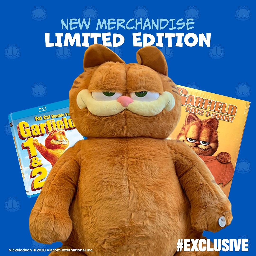 Garfieldeats On Twitter Exclusive New Merchandise The Garfield Movie 1 2 Pack Blue Ray The Giant Garfield 135cm Plush Limited Quantity The Garfield Movie Tshirt For Kids Large Shipping Available