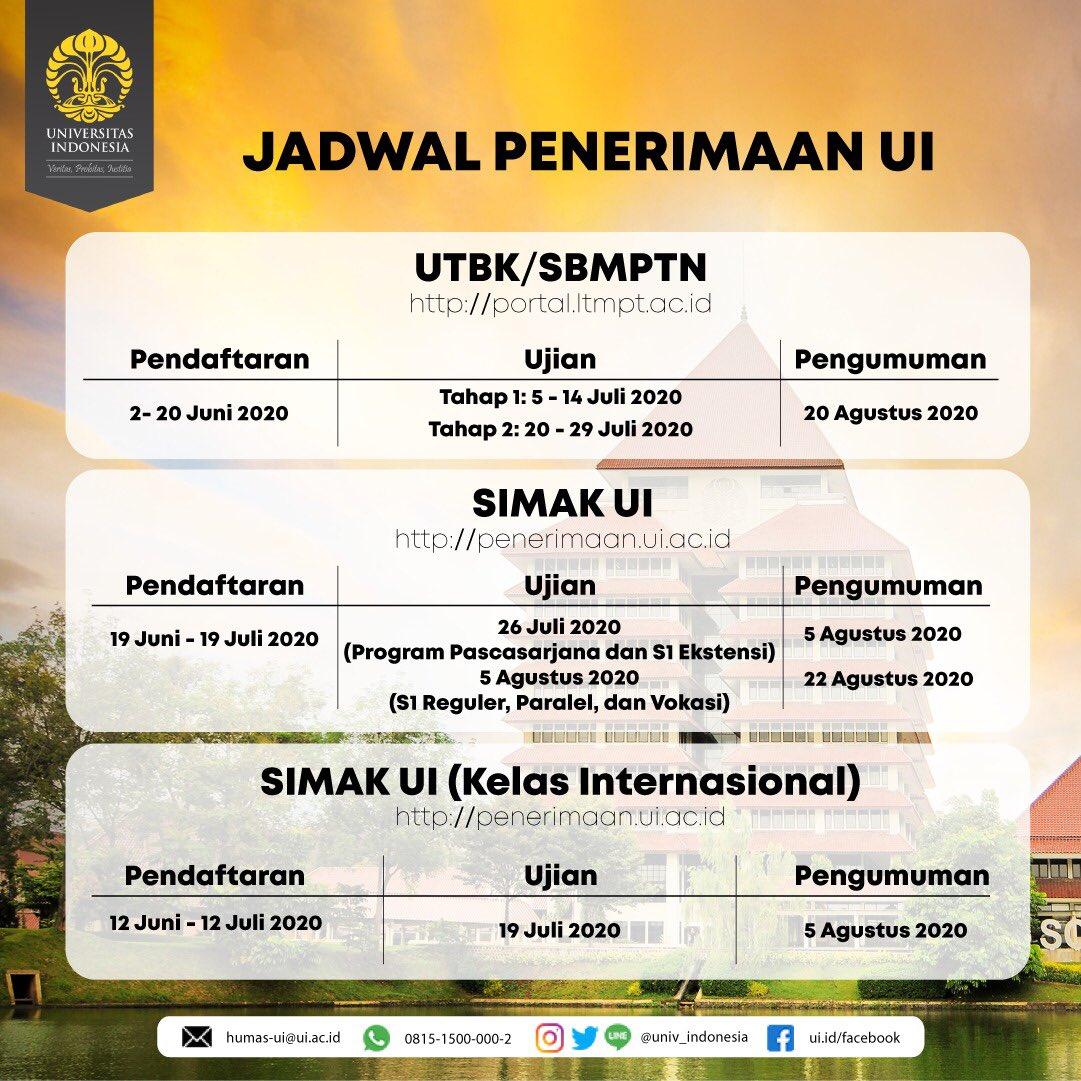 Universitasindonesia Su Twitter 1 Update Jadwal Simak Ui Halo Calon Mahasiswa Ui Kami Informasikan Update Jadwal Simak Ui Untuk Program S1 Reguler S1 Paralel D3 Vokasi Bahwa Tanggal Ujian