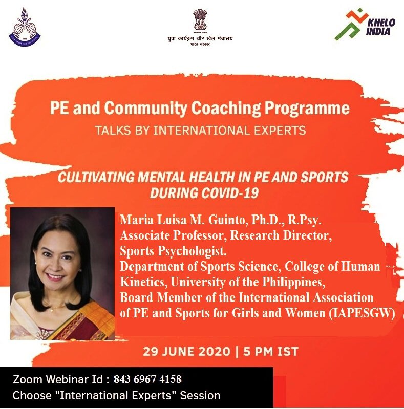 Sports in the time of COVID-19 and mental health - our new topic for the webinar on Zoom. Join Maria Luisa M. Guinto,Ph.D., R.Psy.,Board Member of the International Association of PE and Sports for Girls and Women (IAPESGW). Join her: schoolfitness.kheloindia.gov.in/tot.aspx @KirenRijiju @DGSAI