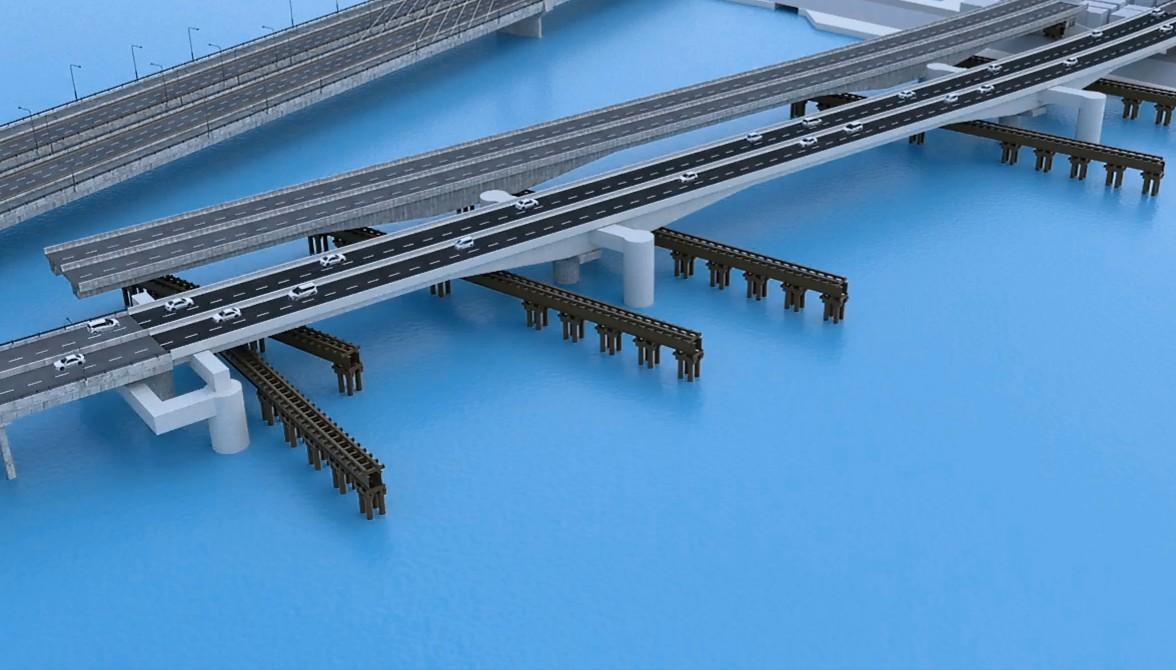 """ノヴァ в Twitter: """"大師橋の更新、新設橋の一部を多摩川下流から約2km ..."""
