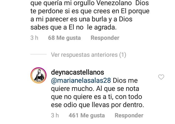 La respuesta de la jugadora en Instagram.