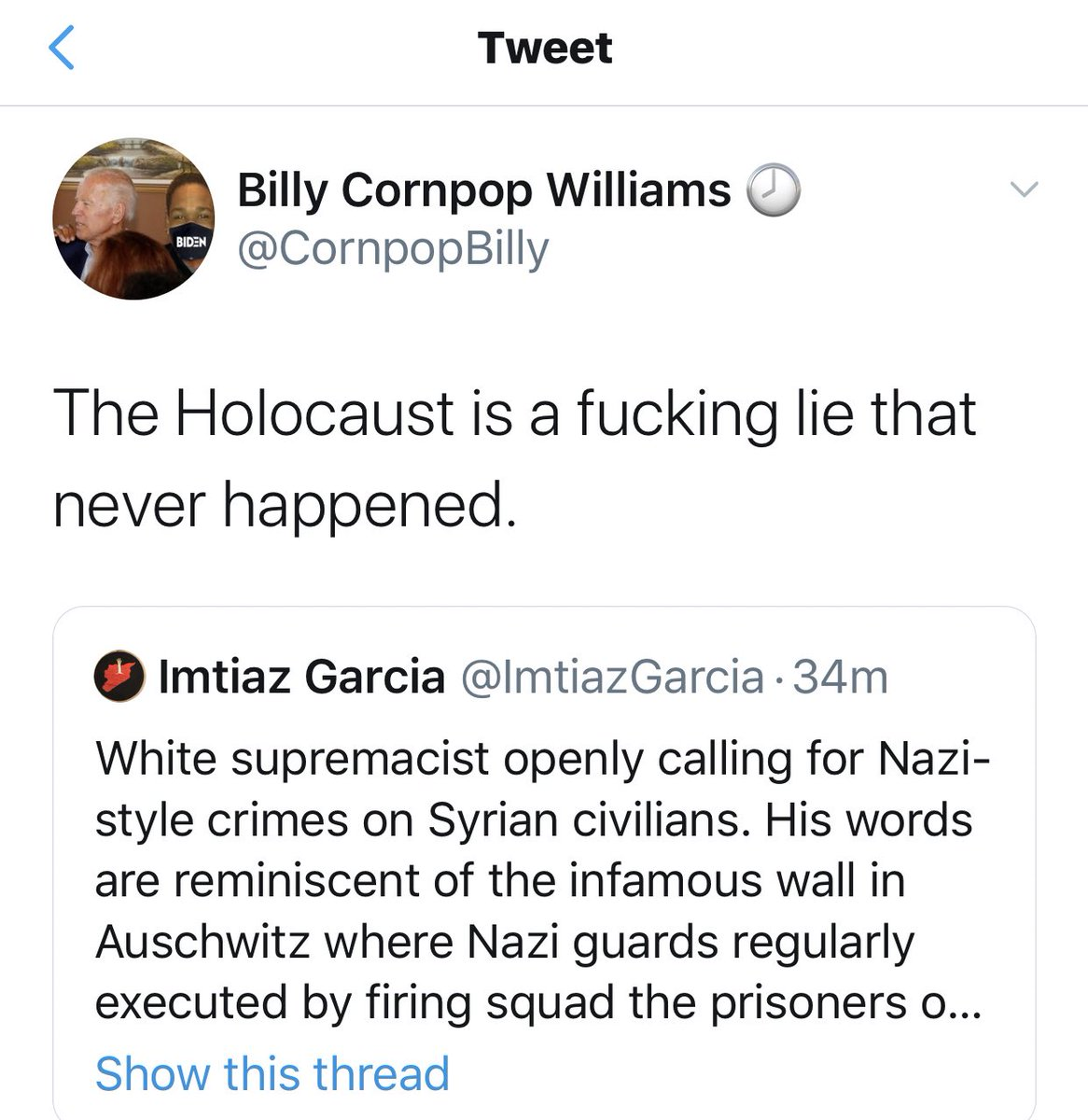 More ... according to Billy the Holocaust is a lie that never happened. #fascist #antifa