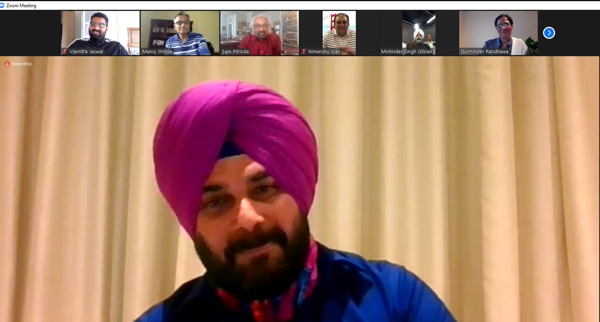 Today had an engaging discussion with Sardar Navjot Singh Sidhu through video conference on current crisis and situation of India.  It is a very well initiative taken by @sampitroda and @INCOverseas to set up a platform for all the NRI's across the world. #SpeakUIndia   @PriaINC https://t.co/7t3Wihh9qr