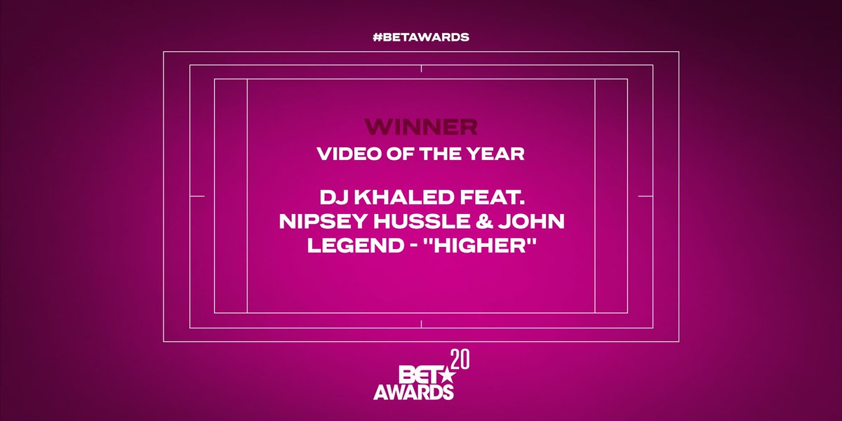 .@djkhaled, the great @NipseyHussle, and @johnlegend take home the award for Video of the Year. #BETAwards https://t.co/tkQPjL2LQE