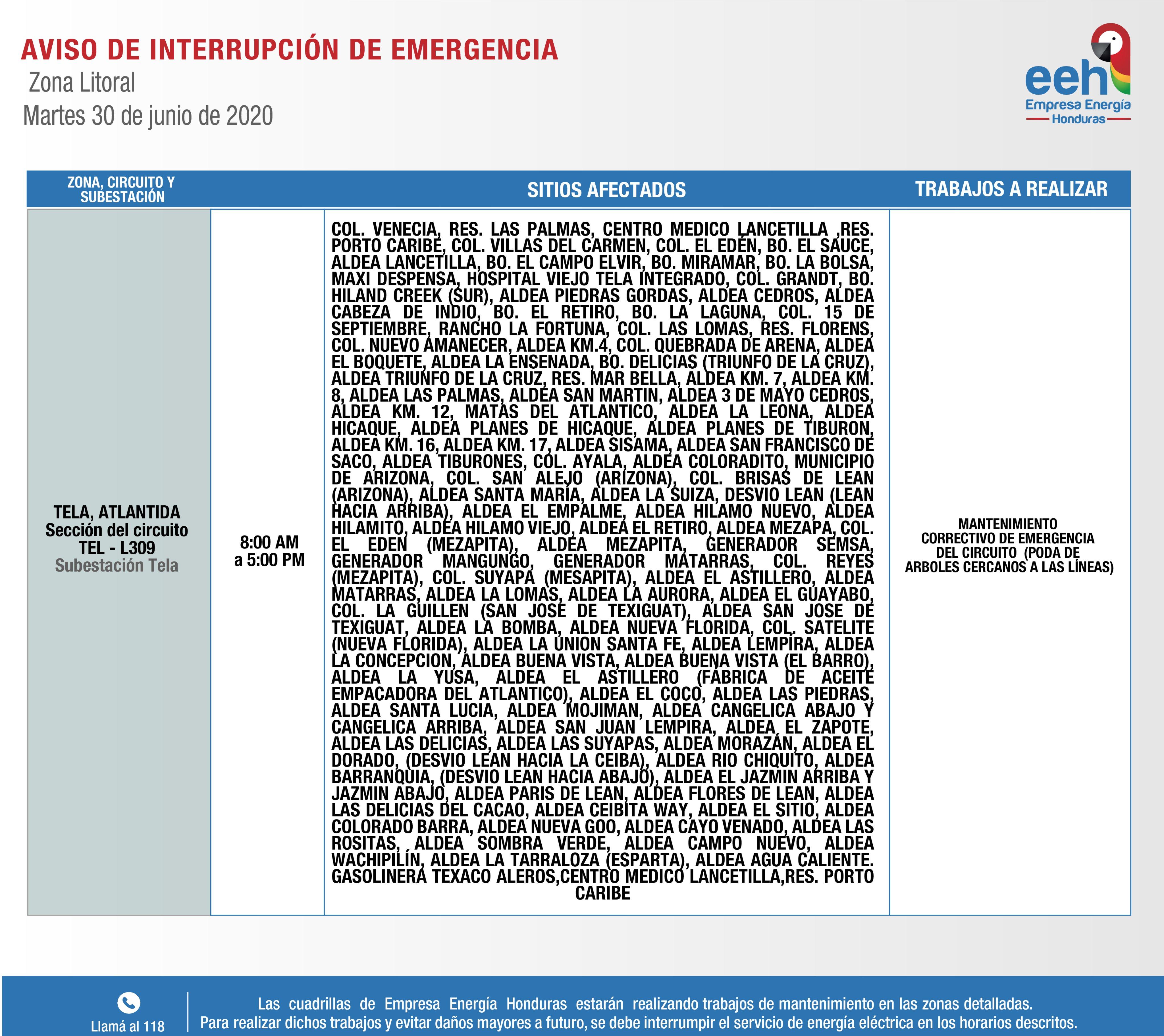Varios barrios y colonias estarán sin energía eléctrica en Tela, Altlántida y El Progreso este 30 de junio.
