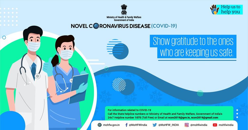 #IndiaFightsCorona Show your gratitude for the real heroes of healthcare. #TogetherAgainstCovid19 #HealthForAll #SwasthaBharat #CoronaOutbreak #Unlock1