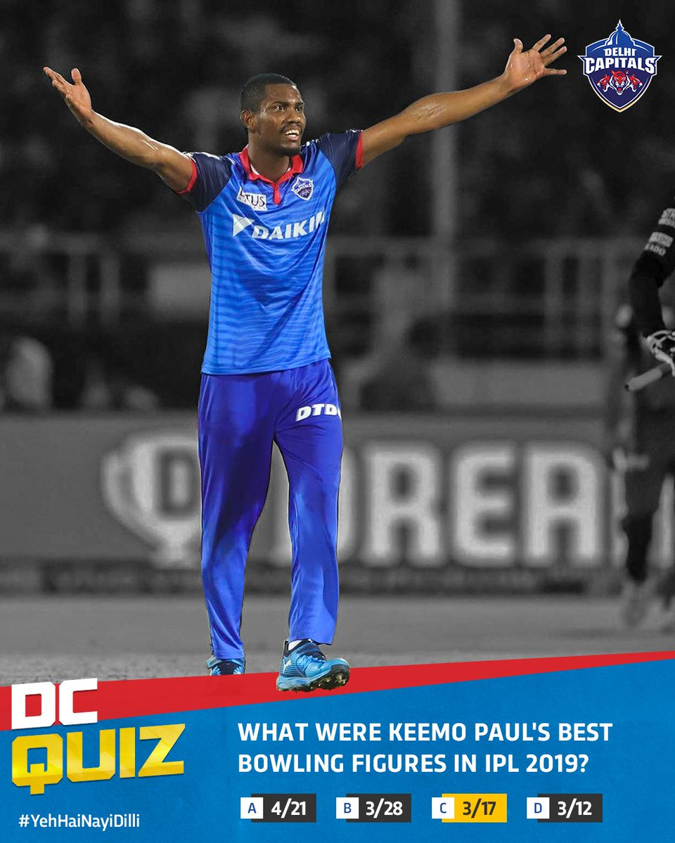 Keemo contributed with an economical spell of 3/17 as we beat @SunRisers in #IPL2019   #YehHaiNayiDilli<br>http://pic.twitter.com/iaobuzG4Wa