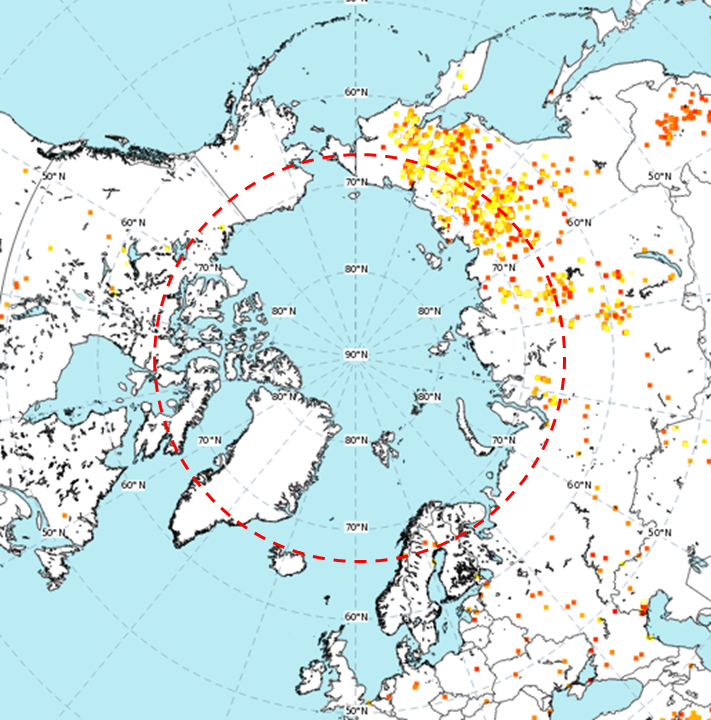 Latest charts of daily #wildfire radiative power for #Arctic Circle up to 28 June with #Copernicus Atmosphere Monitoring Service GFAS data shows continuing growth in area & intensity of #ArcticFires in #Siberia similar to 2019 & significantly above 2003-2018 mean. twitter.com/m_parrington/s…