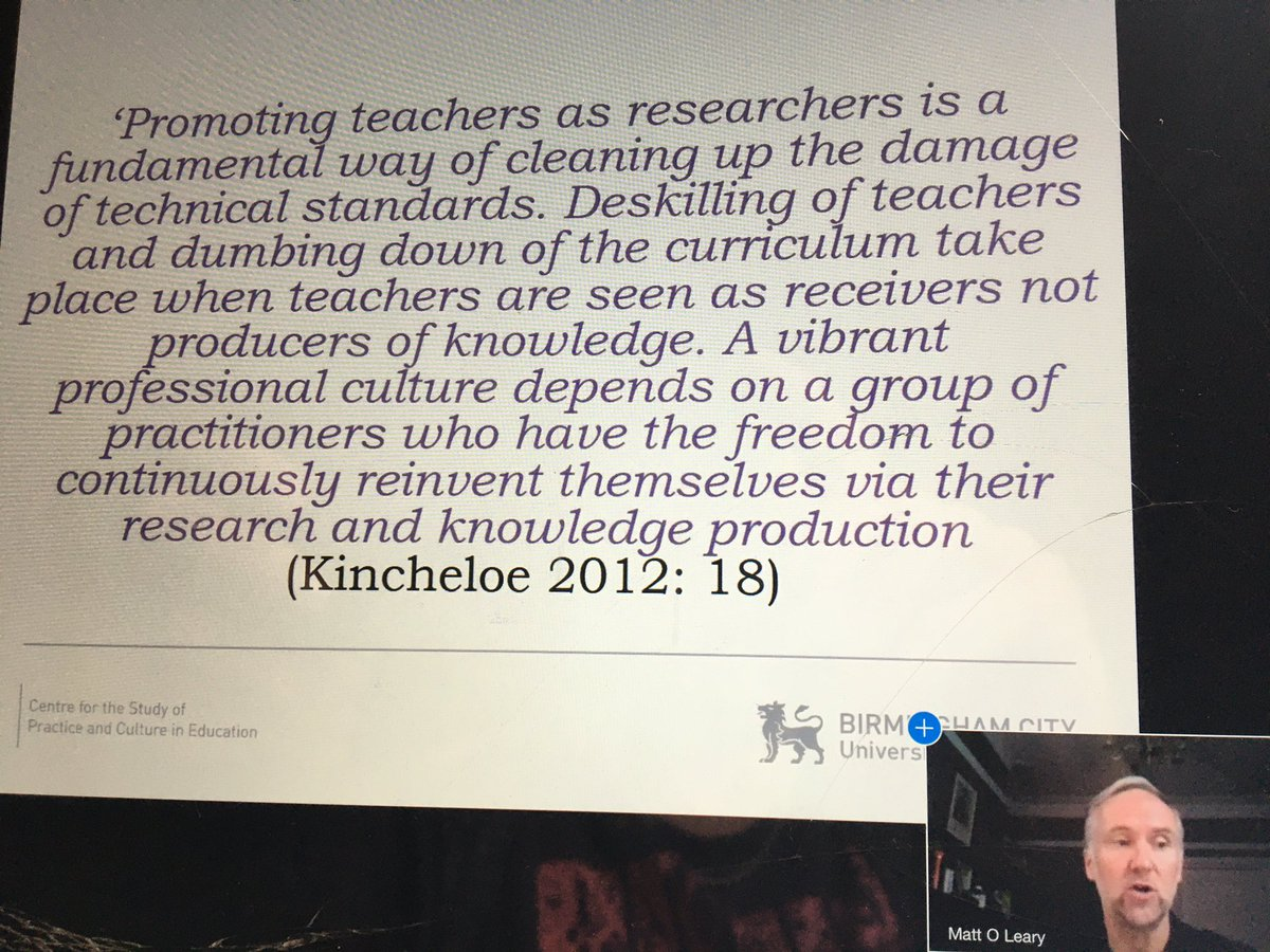 @drmattoleary talking so much sense about practitioner research. #FEVirtualResearchMeet