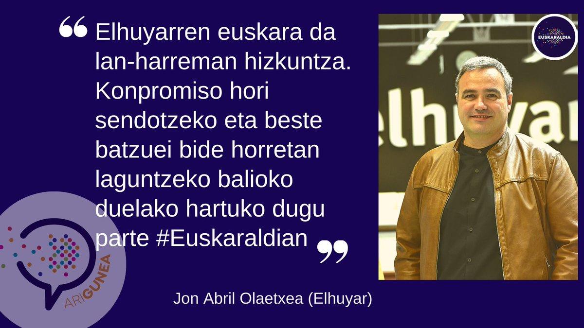 @Elhuyar -en sortu dituzte #ariguneak  Erakunde, enpresa eta elkarteen txanda da orain. Lanean, kirolean, taldean... euskaraz denean! @jonabril #Euskaraldia https://t.co/nde54hWscz