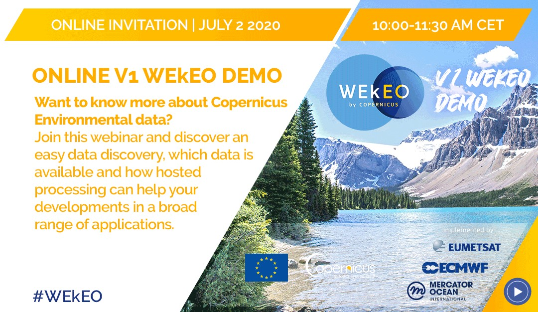 Dont forget - tomorrow you can join an Online V1 @WEkEO_dias demo from 10:00-11:30 (CEST), that will introduce you to the new WEkEO functionalities. For more information, visit: bit.ly/3imixEe
