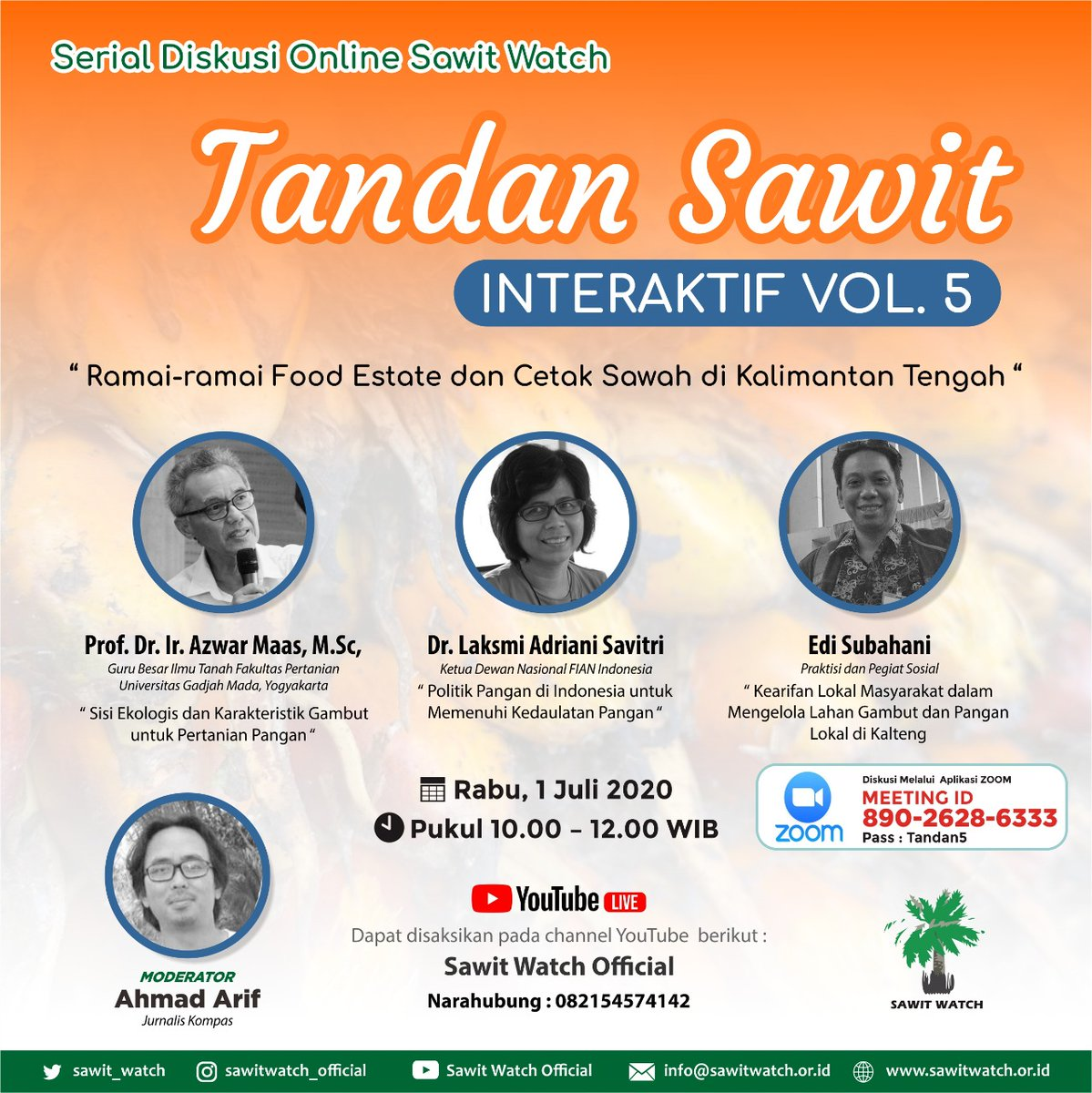 "Coming Soon  Diskusi Online Tandan Sawit Vol. 5 ""Ramai-ramai Food Esatate dan Cetak Sawah di Kalimantan Tengah"". Rabu 1 Juli 2020 pukul 10.00 WIB via Zoom. https://t.co/uz4i28LMio"