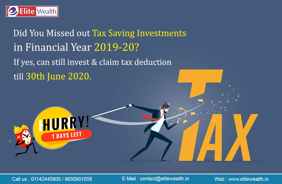 One Day Left, You can still Save on Taxes for 2019-2020!  For investment visit our website https://t.co/jFbiT0YzD1  #Onedayleft #SaveonTaxes #Taxsavinginvestments #Financialfreedom #Wealthcreation #Investsmart #SaveTax #Taxsavingoptions #Growyourmonrey #Financialplanning https://t.co/3s5d8yh6Ok