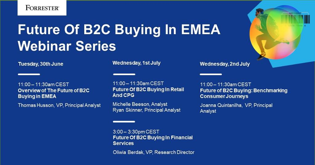 Join the #ForrWebinar #B2C Buying Series and understand how consumer habits in industries like #FinServ and #retail have evolved. Learn more ➡️ forr.com/3i4uzSx #consumerjourney