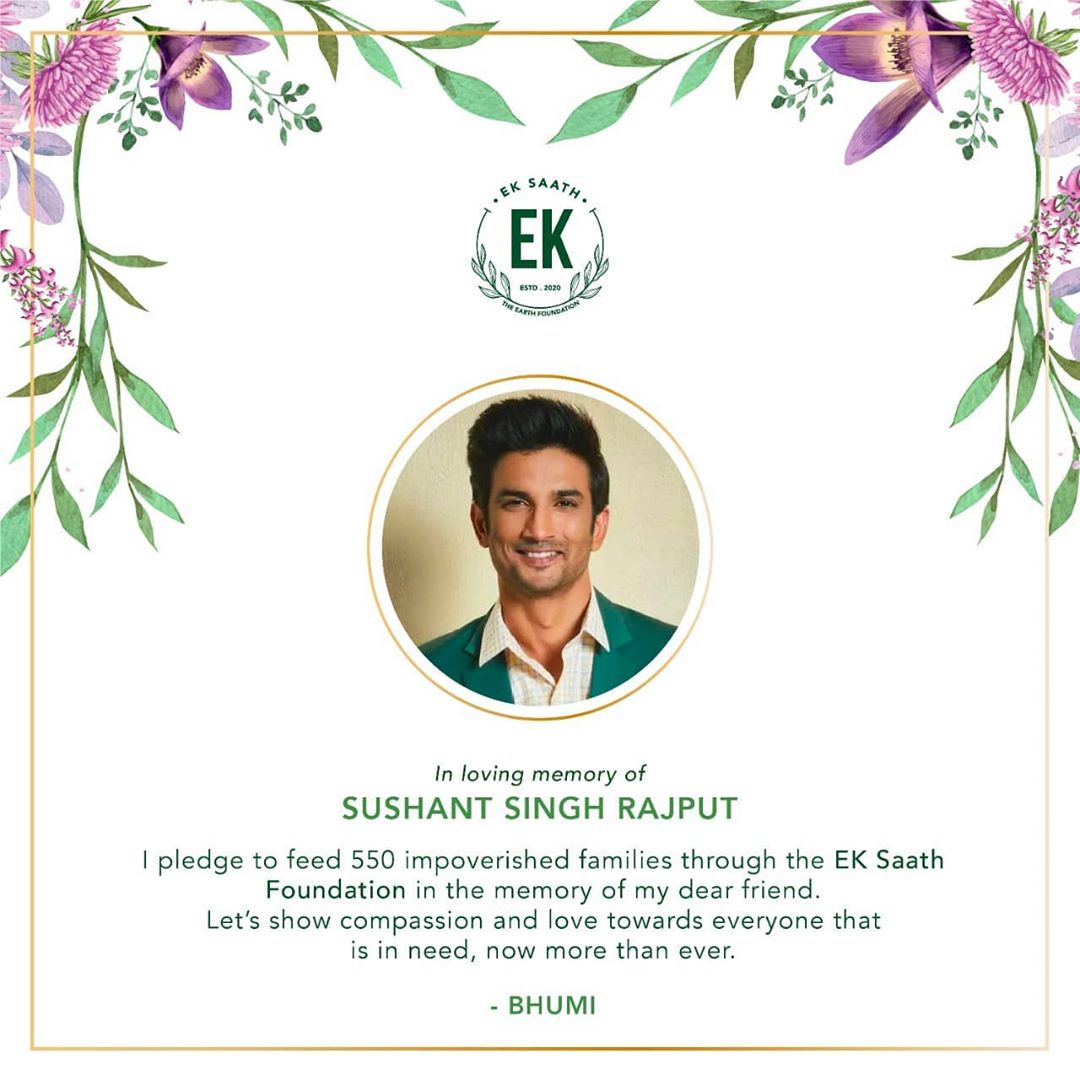 Just an amazing Gesture,He will be smiling up there.Lots of love mam.More power to you @bhumipednekar #CBIEnquiryForSushant #justiceforSushanthSinghRajput pic.twitter.com/ZrlfJJThfZ  by Siaa🌼 #justiceforSushanthSinghRajput