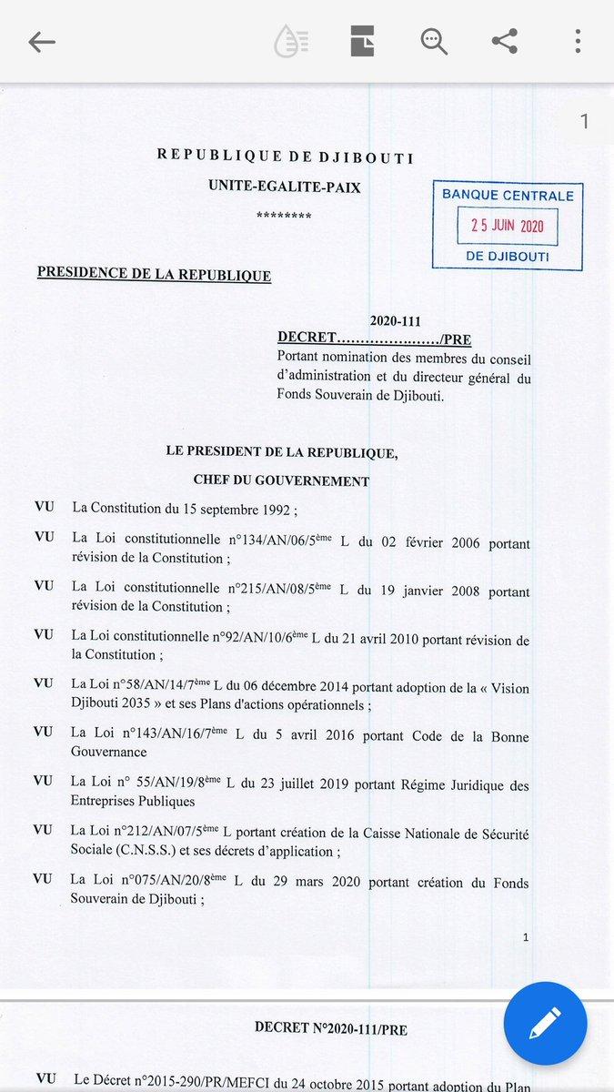 Voici le decret et le paiement de prime 90 000€ chaque membre du conseil d'administration..hold up du siecle.  Le ministre de leconomie et le gouverneur de la banque ont signe. D'ou vient l'argent ??? @Ilyasdawaleh  #djibouti #ouipouruneelectricitemoinschere  #freefouad https://t.co/lfUz1jHyxf https://t.co/9n9FOnq3nF