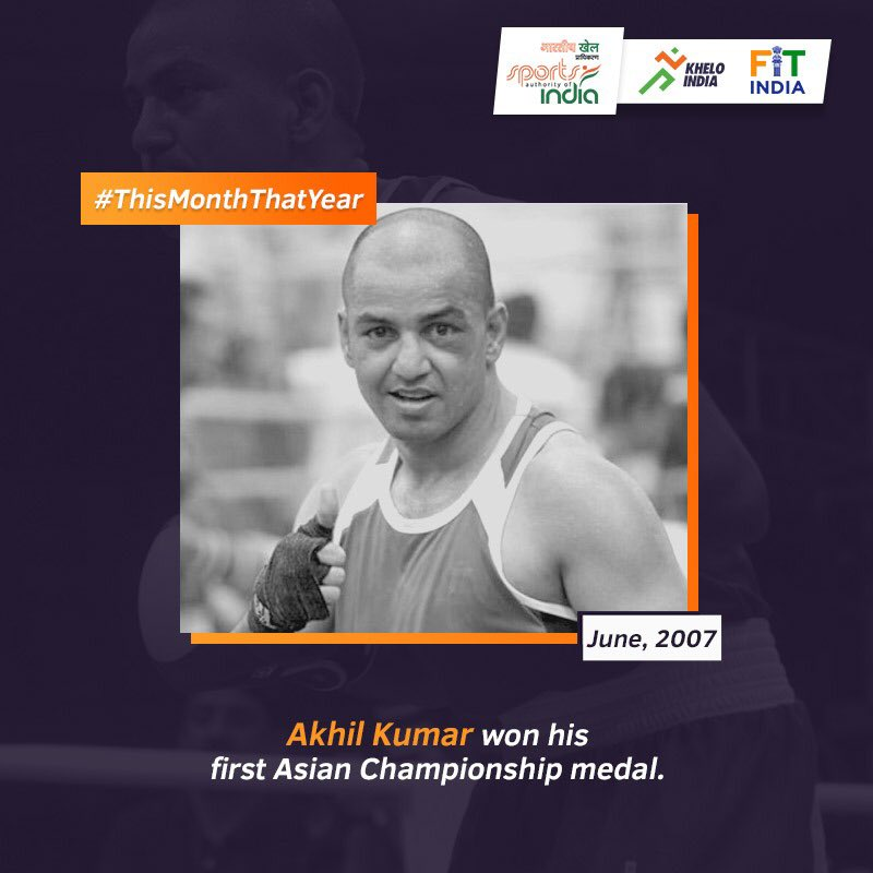 In June 2007, Indian Boxer and Arjuna Awardee #AkhilKumar, won his first Asian Championship medal with a bronze in men's 54kg category. Want to share your success story from June? Go ahead! #ThisMonthThatYear @KirenRijiju @DGSAI @RijijuOffice @BFI_official @PIB_India @PMOIndia
