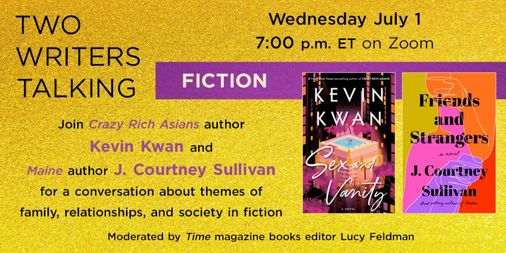 ✨ An event you definitely don't want to miss! ✨  @jcourtsull for FRIENDS AND STRANGERS & @kevinkwanbooks for SEX AND VANITY together in conversation, July 1st! 😱💜  💻 FREE! https://t.co/DeuyNRzIIW https://t.co/29y3n3toiX