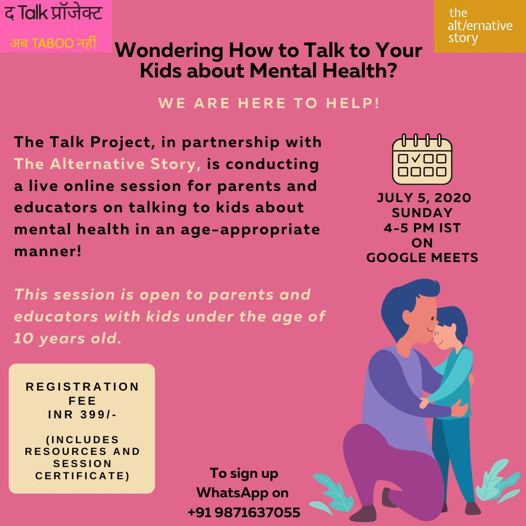 Wondering how to talk to your kids about mental health? Well, this is your space, do sign up! Super happy to bring to you this session in partnership with @TAlternativeS #MentalHealthMatters #PArentingTips #parenting #parentingskills #adolescent #kids #DadsCare #MondayMotivationpic.twitter.com/7kC3LJsW64  by TheTalkProject: AbTabooNahi!