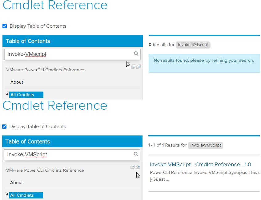 Invoke-VMScript search comparison on {code} portal
