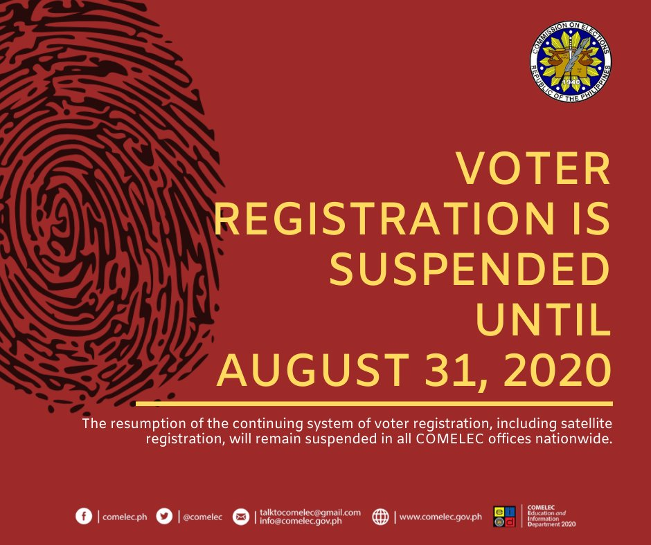Voter registration is suspended until August 31, 2020  @jabjimenez @dirfrancesarabe https://t.co/oTJeHhV1rS