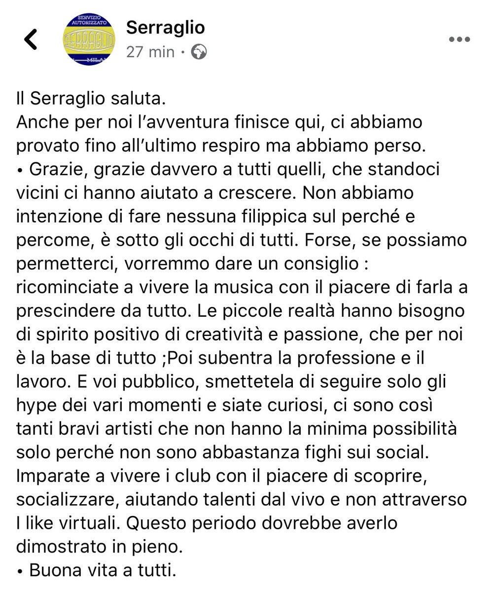 Chiude un altro posto della musica live a Milano. Un abbraccio a tutto lo staff. Non usate emoji tristi, è tempo di dare sonori schiaffi. https://t.co/Y1KJEqtjGy