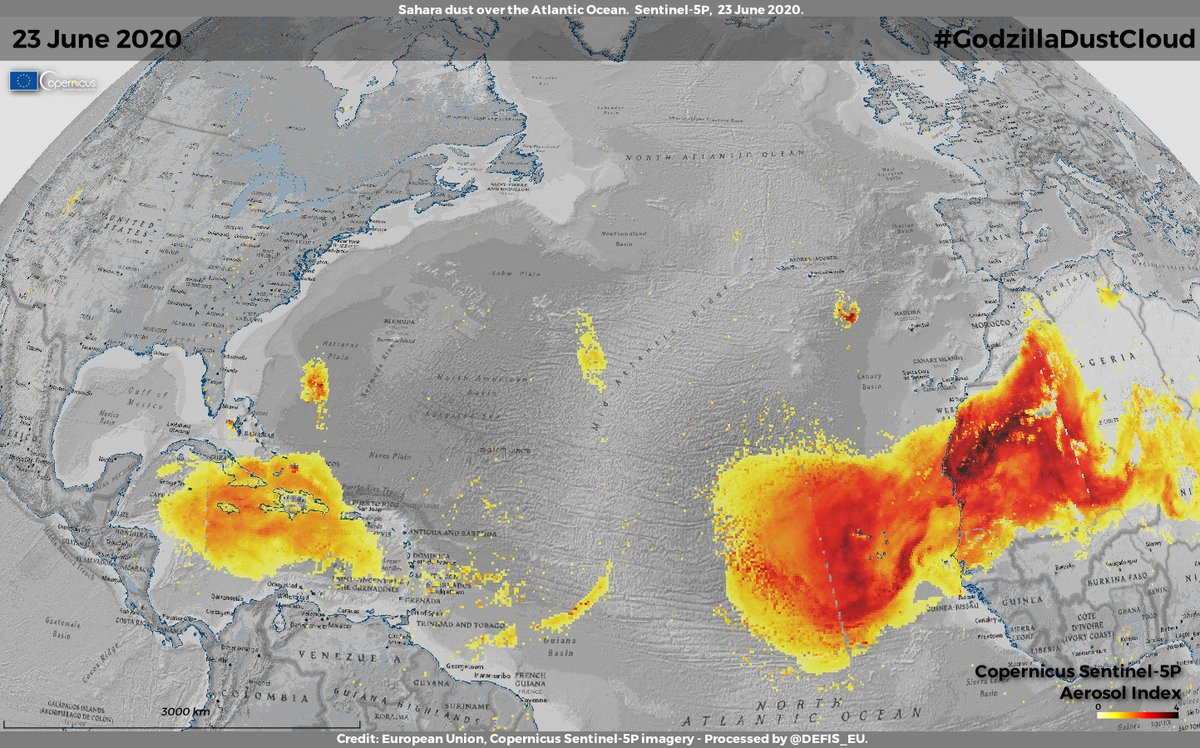 #ImageOfTheDay #GodzillaDustCloud, the largest Saharan dust cloud in 50 years observed by @CopernicusEU #Sentinel5P🇪🇺🛰️: it was ~7000 km long and arrived in America last week, covering the #Caribbean & part of #US🌎 #EuSpace #OpenData allows monitoring #AirQuality worldwide🗺️