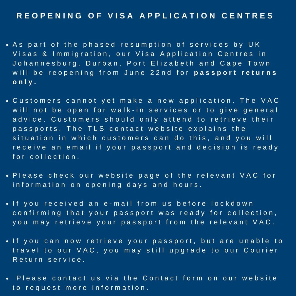 Uk In South Africa On Twitter 1 3 Visa Application Centres Re Open For Passport Collection We Re Now Returning Passports Allowing Applications For 30 Day Extensions We Ll Update On The Start Of More Services