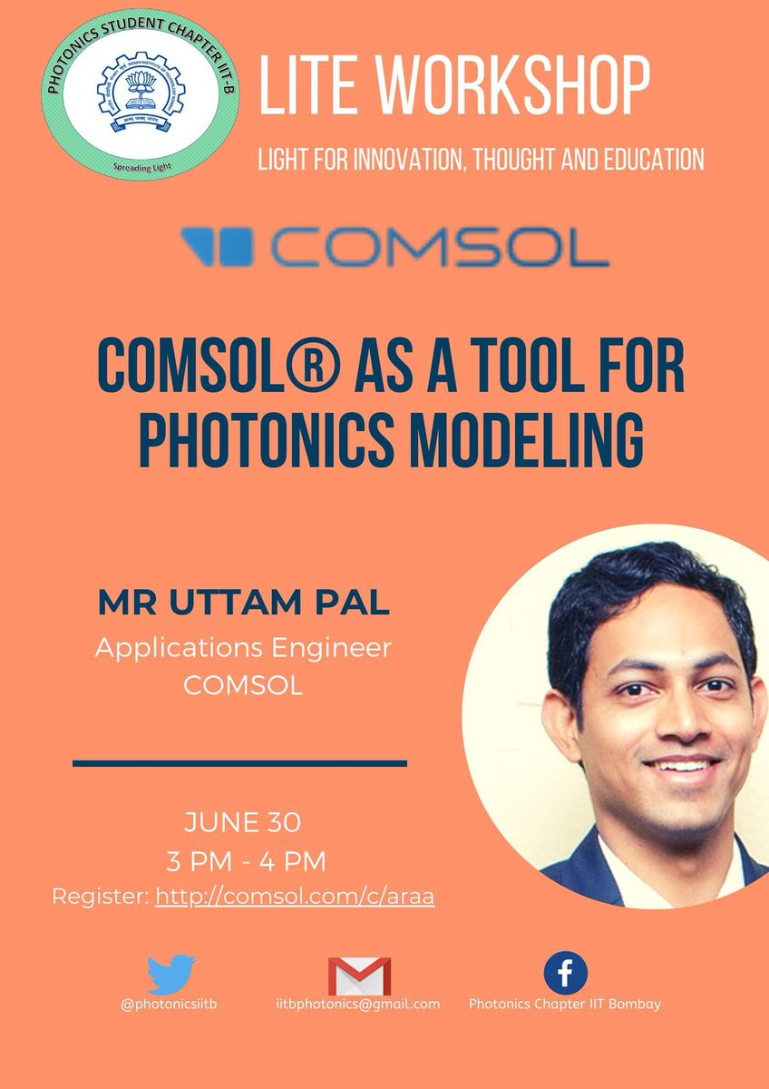 Our new event at @iitbombay : COMSOL for photonics. Register here: https://t.co/LSbCADGEGX @OpticalSociety @IEEEPhotonics https://t.co/mOsBfMYnBc