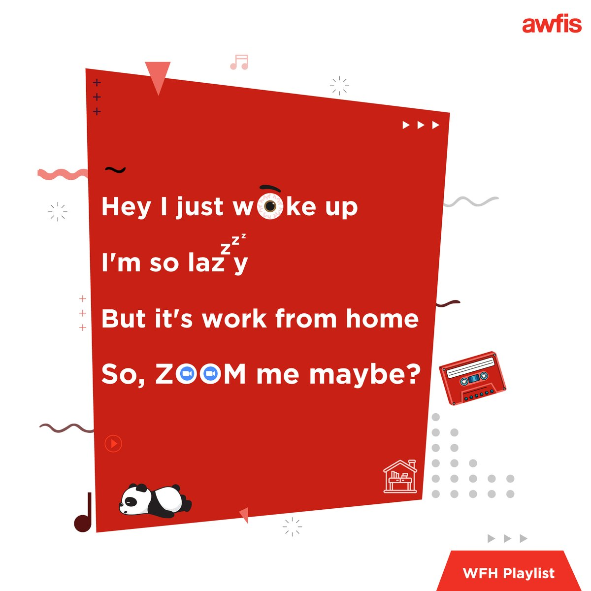 Our #WFH playlist will 𝗺𝗮𝘆𝗯𝗲 give 𝗲𝘃𝗲𝗿𝘆𝗯𝗼𝗱𝘆 a 𝘁𝗵𝗿𝗶𝗹𝗹 🎶 Guess the songs and maybe sing along?   #WfhPlaylist #WorkFromHome #FunnyLyrics https://t.co/v5CTQlLV3T