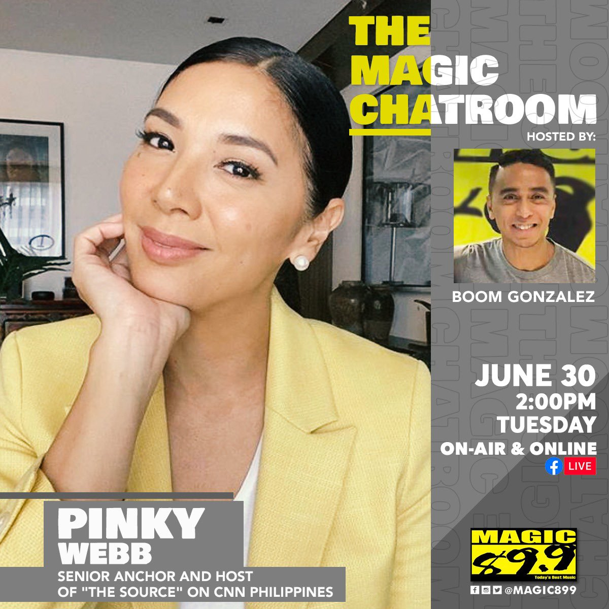 Dont forget tomorrow on The Chatroom, veteran broadcaster, news anchor and host of THE SOURCE on CNN Philippines, @iampinkywebb enters the chatroom with @gamedaywithboom in her very first radio interview! June 30 at 2pm on-air, on Facebook, Twitch, and Kumu! #TheMagicChatroom
