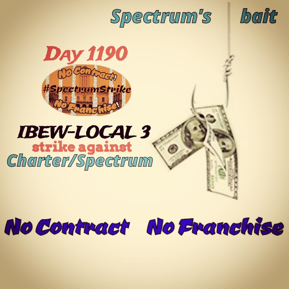 Day1190 Brothas & Sisthas Charter/Spectrum's bait worked on numerous politicians & scabs. To buy a franchise agreement, they'll be set a more alluring bait. Those quiet one; are they caught in it? #SpectrumStrike #Local3 #FairContractNow #corporategreed #NoContractNoFranchise2020<br>http://pic.twitter.com/dGqtsnVbVC