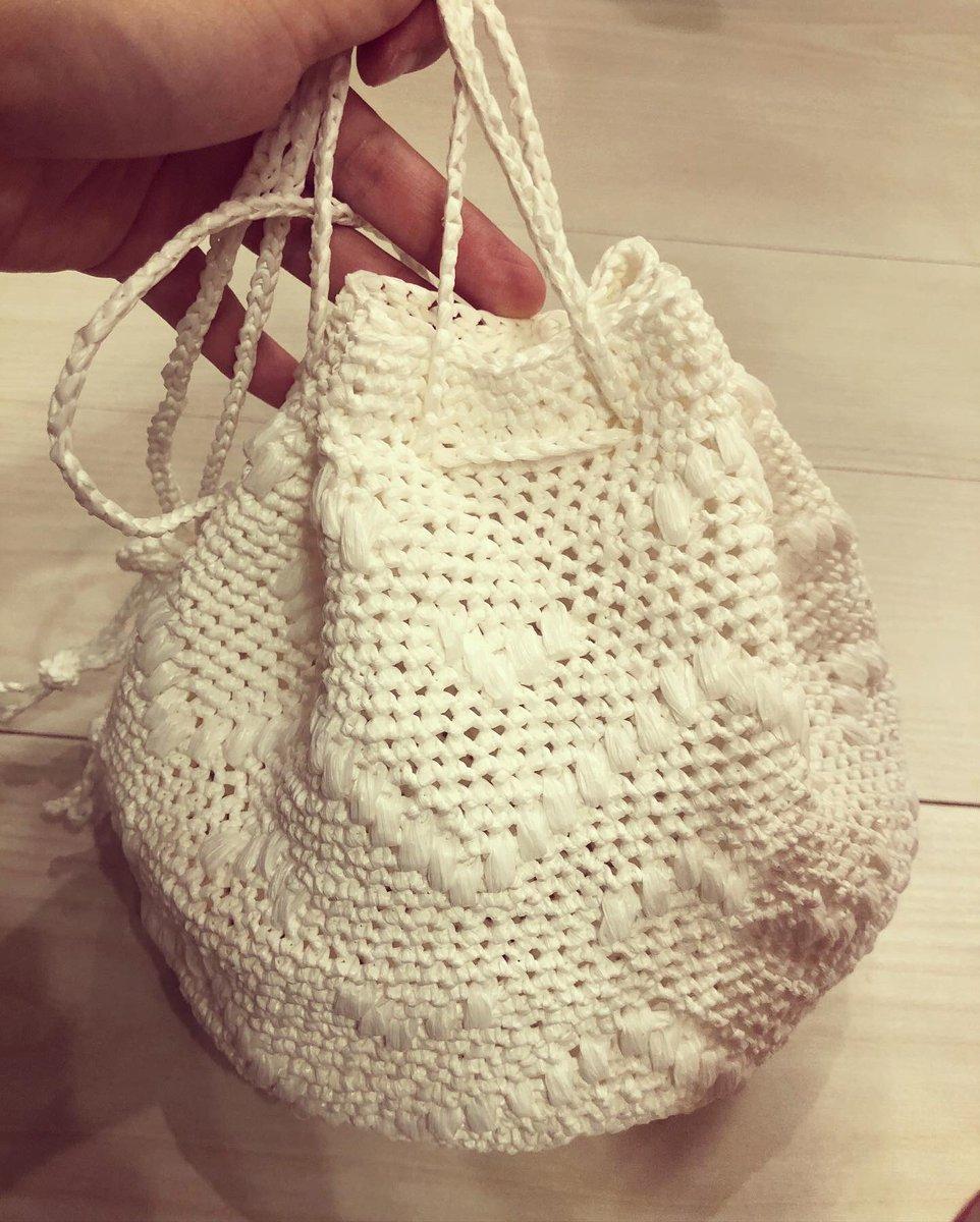 形がいびつだけど、エコアンダリアのカゴバッグ編み上がりました! 満足。 #littlelion  #すてきにハンドメイド