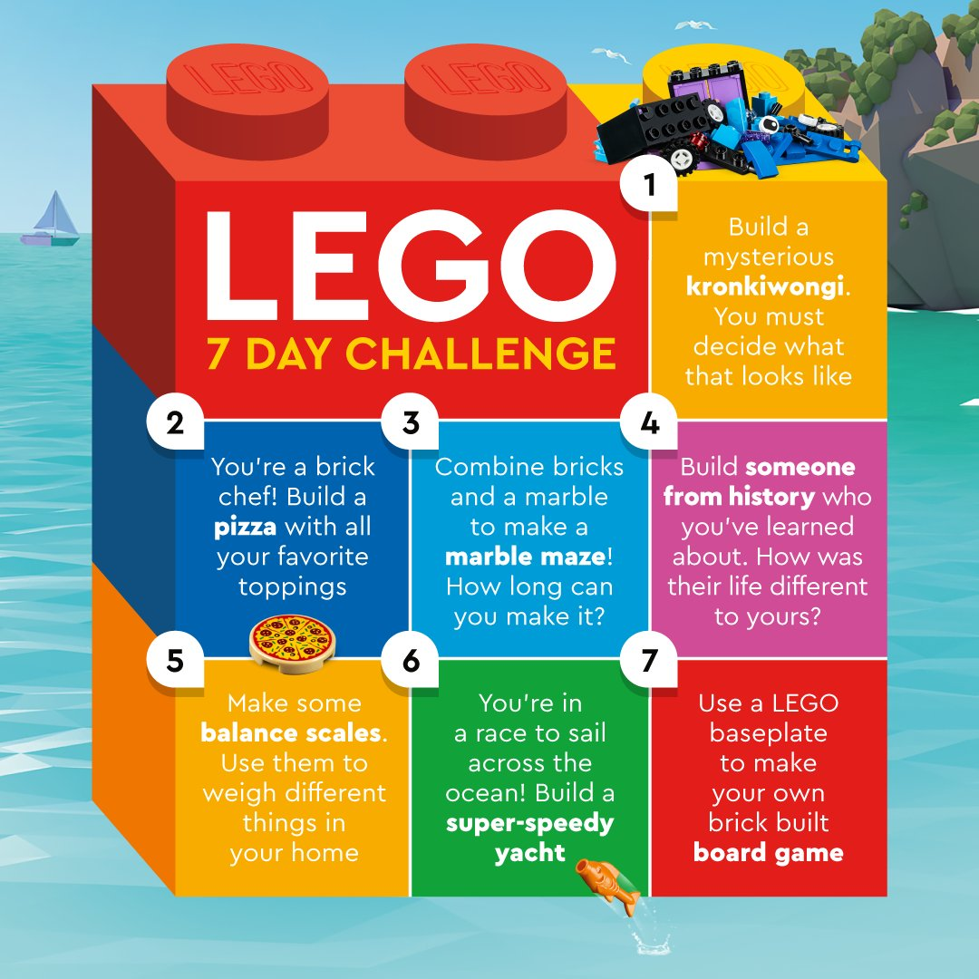 Here are some fun creative LEGO challenges for your kids to try at home this week! 🌊 Share your family's creations with #LetsBuildTogether   Find more fun building inspiration here: https://t.co/N08vbL1wiK https://t.co/j0RQEkklQ5