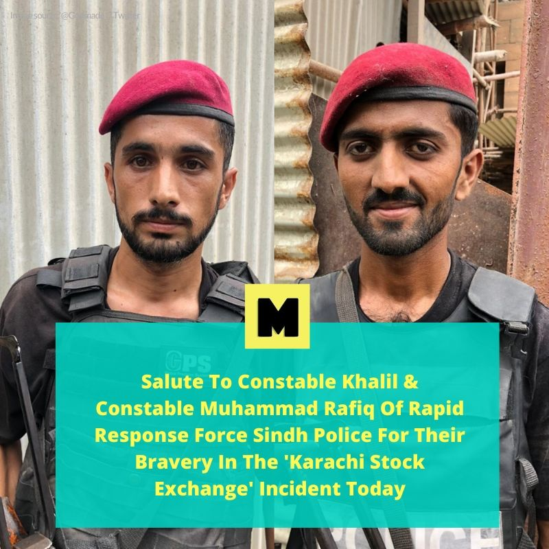 Without a care for their own selves, these brave heroes of the Sindh Police neutralized the terrorists today at the Pakistan Sock Exchange incident  #KarachiStockExchange #Karachi #KarachiTerrorAttack https://t.co/8THQezAlbu