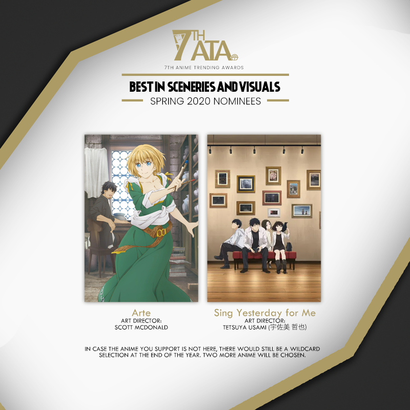 We have selected our nominees for Best in Sceneries and Visuals from Spring 2020 for the 7th Anime Trending Awards! 🔥 Current Nominations: bit.ly/ATA2021-Nomine…