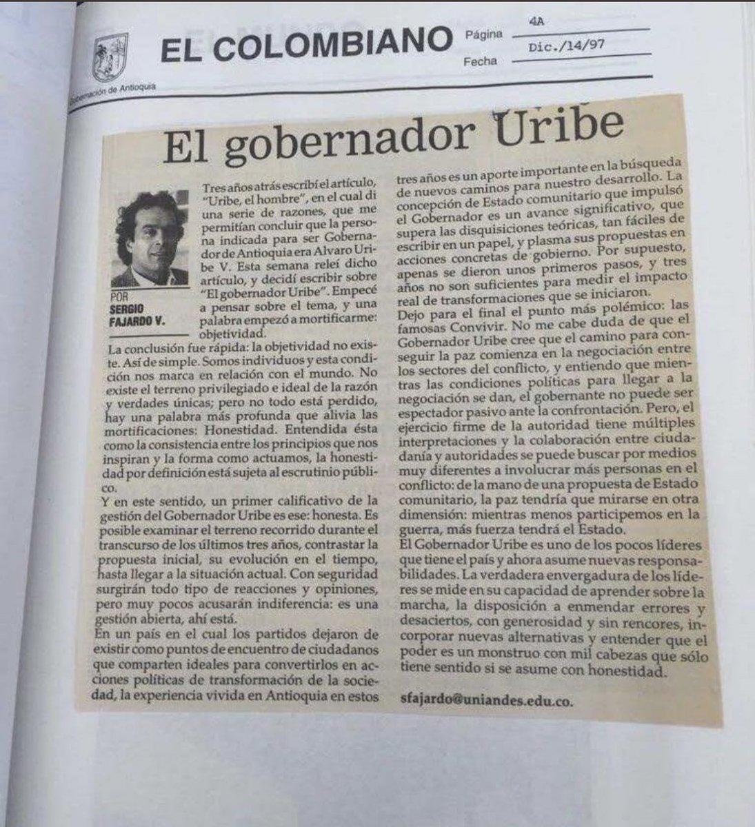 """Laura Medina Ruiz on Twitter: """"""""Un primer calificativo de la gestión del  Gobernador Uribe es: Honesta"""" Así elogiaba @sergio_fajardo la gestión de  Uribe como Gobernador de Antioquia.… https://t.co/Z6J5biUwgY"""""""