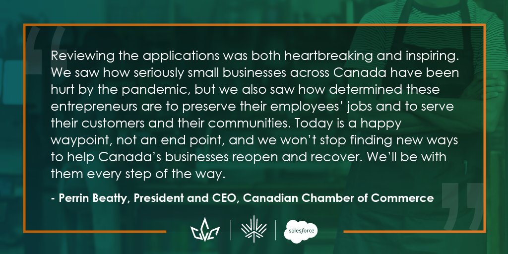 We're excited to announce the 62 businesses that will be receiving the $10,000 grant from our Canadian Business Resilience Network Small Business Relief Fund with @SalesforceCA. Learn more in our news release: https://t.co/rNzlvnJSQ2 #BizResilience https://t.co/DvXU2xjN9V