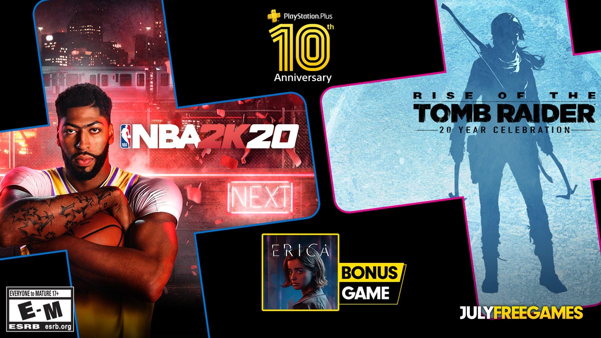 test ツイッターメディア - As PS Plus reaches its tenth anniversary, your games for July are revealed: NBA 2K20, Rise of the Tomb Raider and Erica: https://t.co/B5p4fmWgqp https://t.co/JoEaQSQn0V