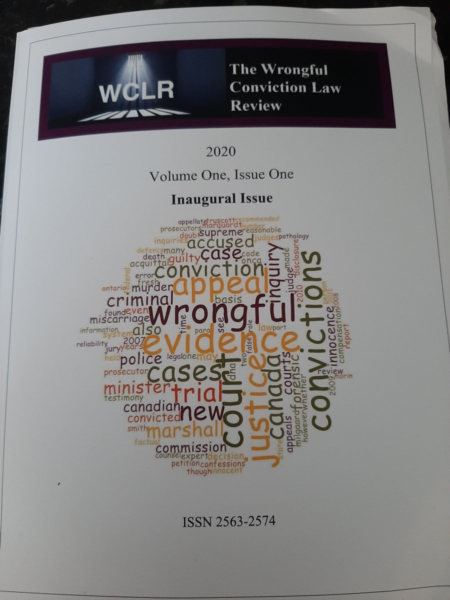 Just received my copy of the first issue of The #WrongfulConvictions Law Review. Lots of important articles & it is good to have a journal focusing on scholarship in this area. See our website for submission details  https:// wclawr.org/index.php/wclr    <br>http://pic.twitter.com/yzzIV9npa6