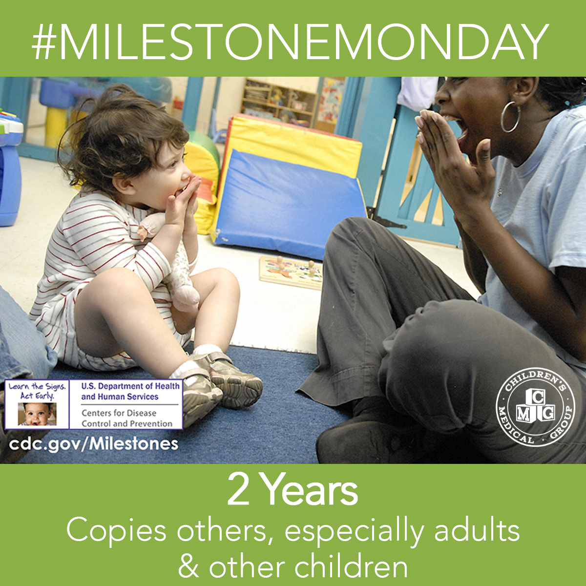 #MilestoneMonday - At 2 years old, your child will be able to mimic/copy others - especially adults & other children.   #ChildrensMedicalGroup #MilestoneMonday #CMG  #DevelopmentalMilestones #Milestones #Childhood #Development #Pediatrics #2Years #JacksonMS #MadisonMS #ClintonMSpic.twitter.com/RkAOfgo6p5