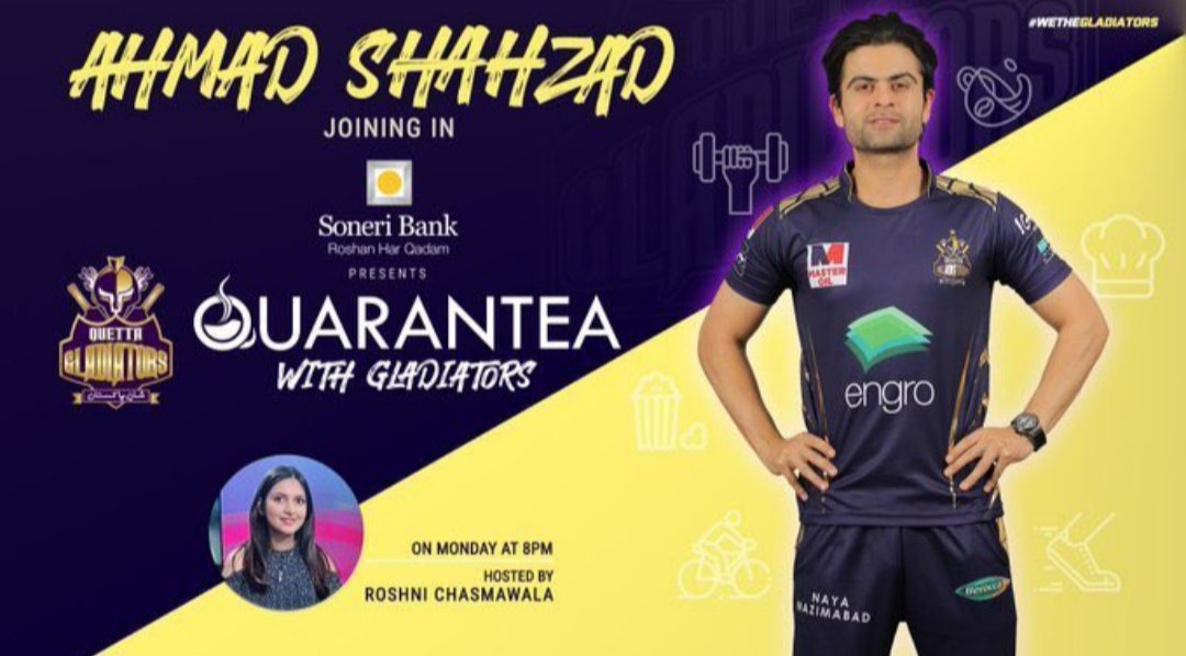 Good News for all the fans! Catch @iamAhmadshahzad Tonight at 8PM in QUARANTEA with Gladiators.🙌🏻  @iamAhmadshahzad  @TeamQuetta  #WeTheGladiators https://t.co/D3GdpO9CJX