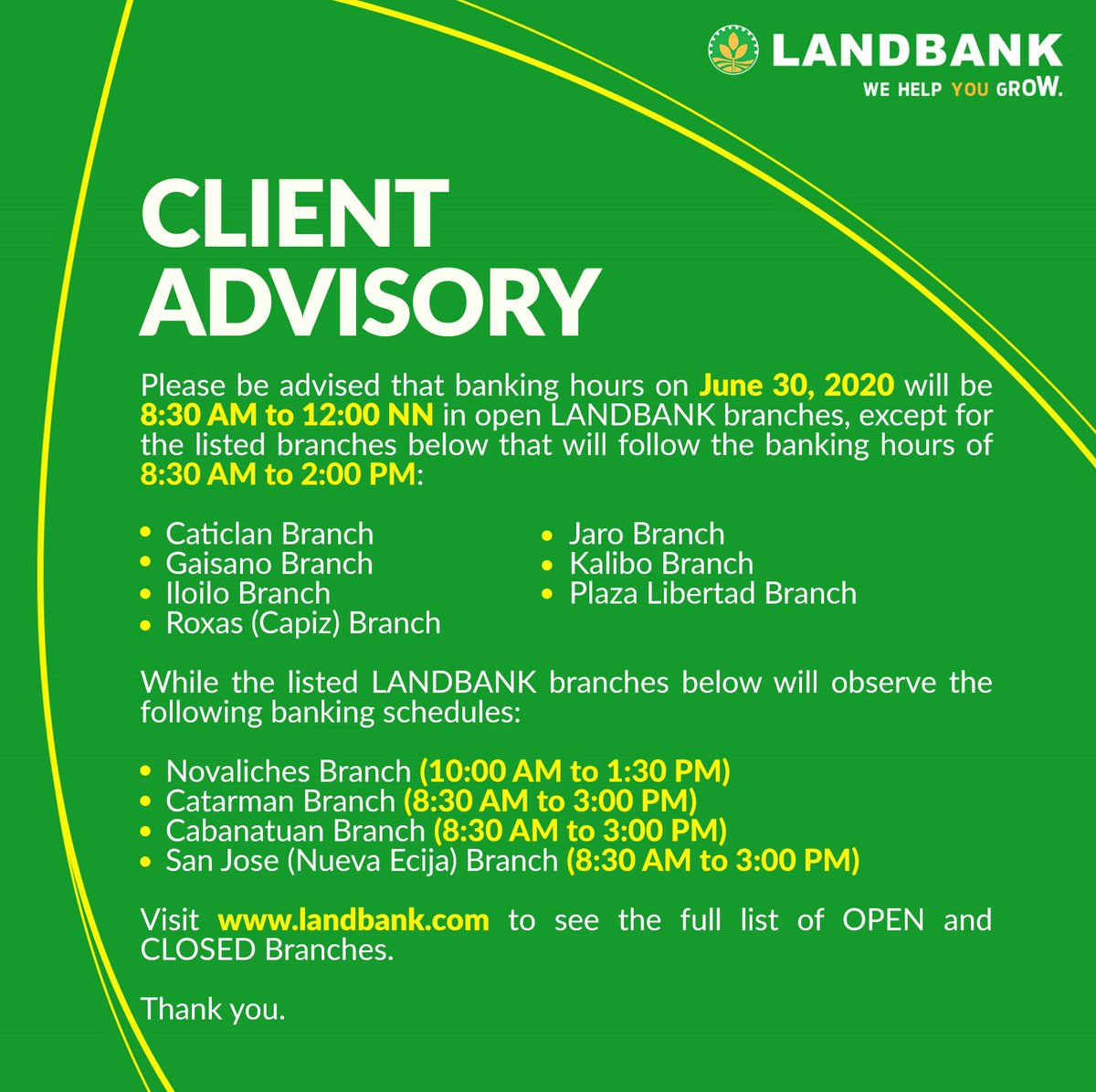#LANDBANKClientAdvisory  To see the full list of OPEN branches, visit https://t.co/CQXHk1o70d  To see the full list of CLOSED branches, visit https://t.co/omgy6M6P7O https://t.co/4OKRdwnsKX