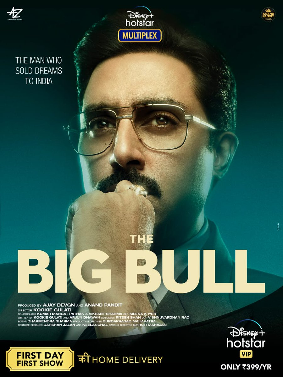 #TheBigBull - an exceptional tale of a man who sold dreams to India. So thrilled to get this home delivered to you where you'll get to watch the First Day First Show with #DisneyPlusHostarMultiplex only on @DisneyplusHSVIP https://t.co/qmmwkj44La