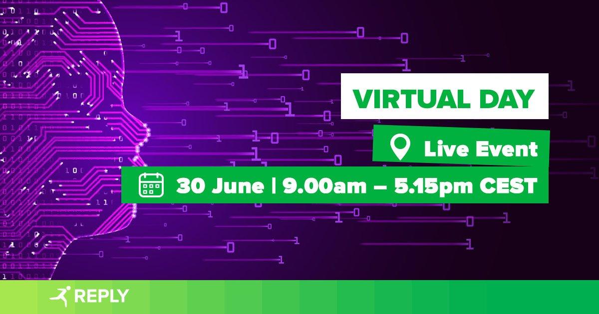 Domani, @cluster_reply prenderà parte all'edizione online del #VirtualDay, l'evento B2B per favorire il networking, la presentazione di progetti innovativi e il live matching tra le aziende. Registrati e partecipa alle sessioni con i nostri specialisti: https://t.co/HO5x7Ko6jf. https://t.co/nlxJSdcAGL