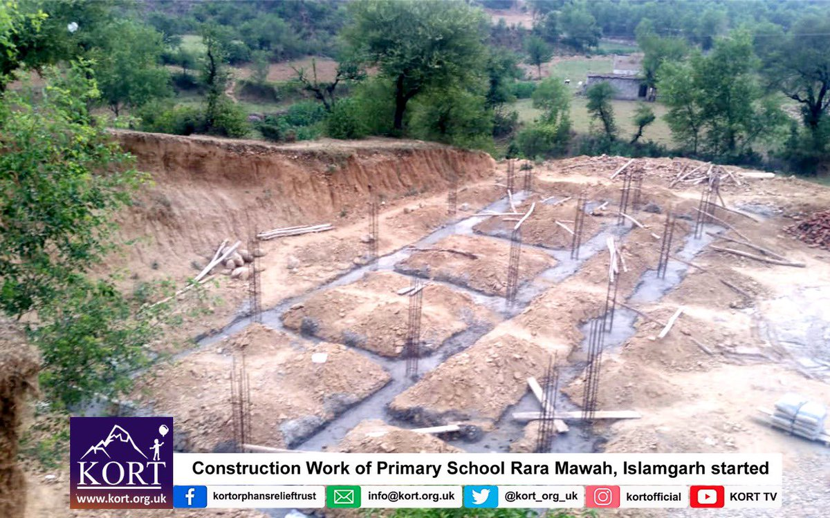 As promised, Construction Work of Primary School Rara Mawa, Islamgarh is started by KORT. The school was demolished due to Mangla Dam Upraising, and children were getting education without a school building. Keep supporting KORT!! @Kort_org_uk kort.org.uk